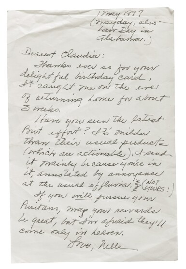 View 6. Thumbnail of Lot 151. LEE, HARPER | A fine group of letters to Claudia Durst Johnson and other manuscript material.