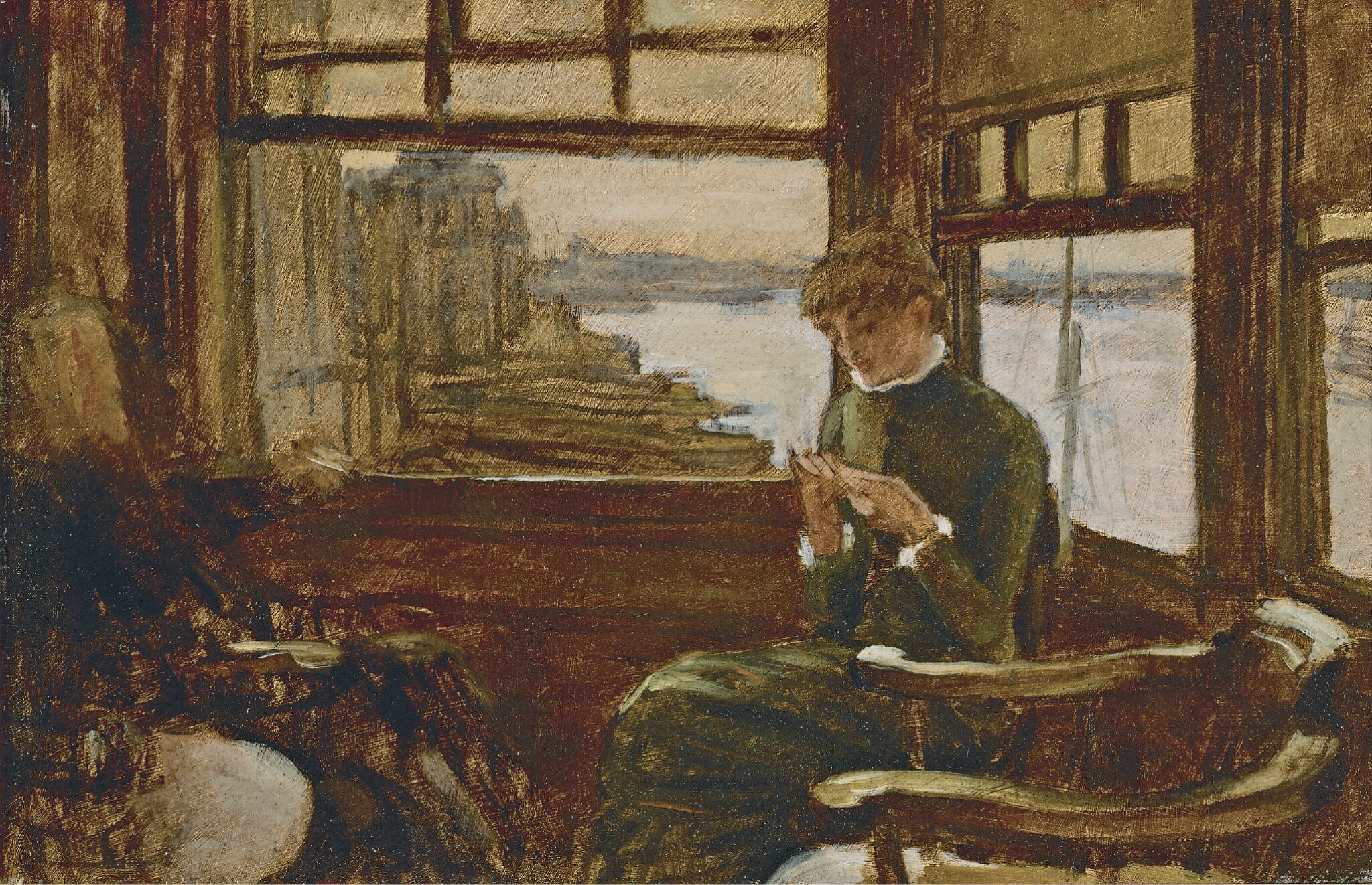 View full screen - View 1 of Lot 18. JAMES-JACQUES-JOSEPH TISSOT | Kathleen Newton in a Thames-Side Tavern.