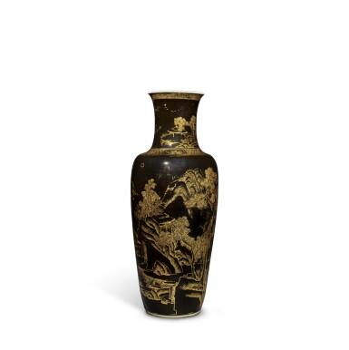 View 4. Thumbnail of Lot 203. A mirror-black-glazed and gilt-decorated 'landscape' vase, Qing dynasty, 19th century | 清十九世紀 烏金釉描金山水人物圖瓶.