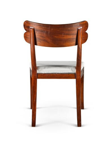 View 5. Thumbnail of Lot 158. A set of twelve Regency mahogany and ebony 'Klismos' dining chairs, circa 1815, after a design by Thomas Hope.