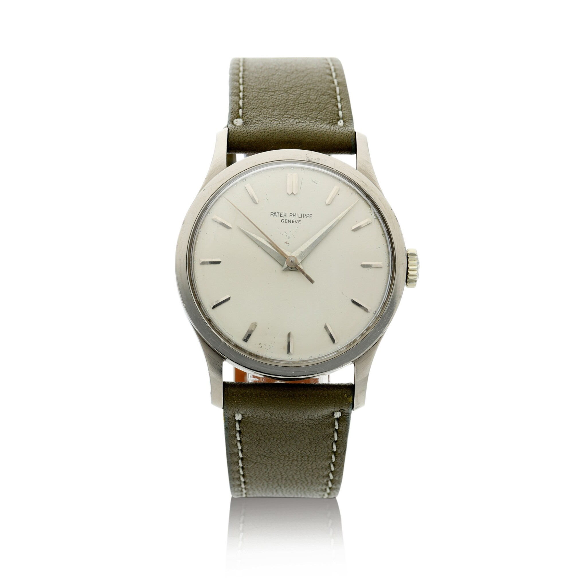 View full screen - View 1 of Lot 37. PATEK PHILIPPE | REFERENCE 570 CALATRAVA  A WHITE GOLD WRISTWATCH, MADE IN 1966.