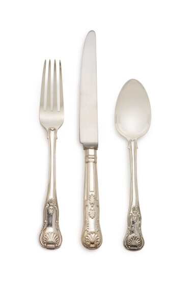 View 1. Thumbnail of Lot 267. AN ASSEMBLED GEORGE IV AND VICTORIAN SILVER KINGS PATTERN FLATWARE SERVICE, MOST ROBERT RUTLAND AND GEORGE ADAMS, LONDON, 1824-1890.