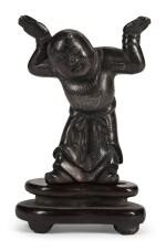 A SILVER-INLAID BRONZE FIGURE OF A BOY   17TH/18TH CENTURY   十七/十八世紀 銅錯銀童子立像