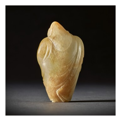 View 2. Thumbnail of Lot 207. AN EXCEEDINGLY RARE WHITE AND RUSSET JADE CARVING OF A FOREIGNER,  TANG DYNASTY.