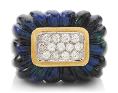 View 1. Thumbnail of Lot 1013. AZURMALACHITE AND DIAMOND RING, DAVID WEBB.