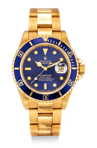 View 1. Thumbnail of Lot 8017. ROLEX | SUBMARINER REFERENCE 16618 | A YELLOW GOLD WRISTWATCH WITH DATE AND BRACELET, CIRCA 1990  | 勞力士 | Submariner 型號16618 黃金鏈帶腕錶,備日期顯示,約1990年製.