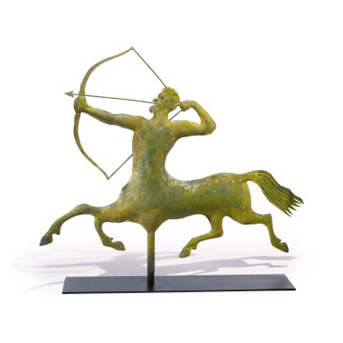 FINE AND RARE MOLDED GILT SHEET COPPER AND ZINC 'ARCHER' CENTAUR WEATHERVANE, A.L. JEWELL & CO. (1852-1867), WALTHAM, MASSACHUSETTS, CIRCA 1865