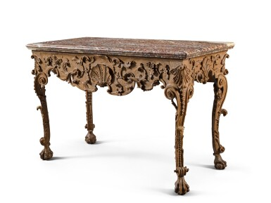 View 2. Thumbnail of Lot 54. A Franco-Flemish carved and stained walnut console table, probably Liège, early 18th century.