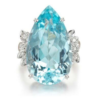 View 1. Thumbnail of Lot 56. Aquamarine and diamond ring.