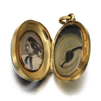 View 2. Thumbnail of Lot 299. Banded agate and diamond pendant, 1861.