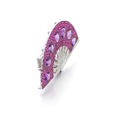 View 2. Thumbnail of Lot 29. MICHELE DELLA VALLE | AMETHYST, RUBY AND DIAMOND BROOCH.