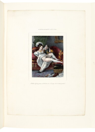 View 2. Thumbnail of Lot 155. Romantisme secret, an album of erotic prints, [Paris, 1840s-1850s], half red morocco.