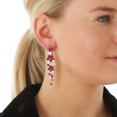 View 4. Thumbnail of Lot 318. GRAFF   PAIR OF RUBY AND DIAMOND EARRINGS, 'CARISSA'.