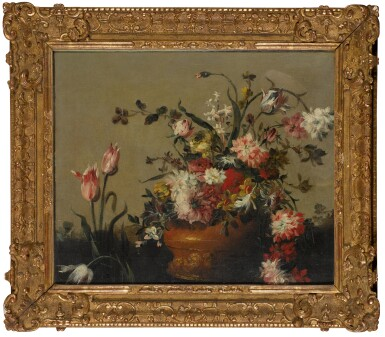 View 2. Thumbnail of Lot 202. Still life with a vase of peonies and tulips.