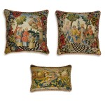 A group of three European textiles panels, now cushions, late 17th and 18th century