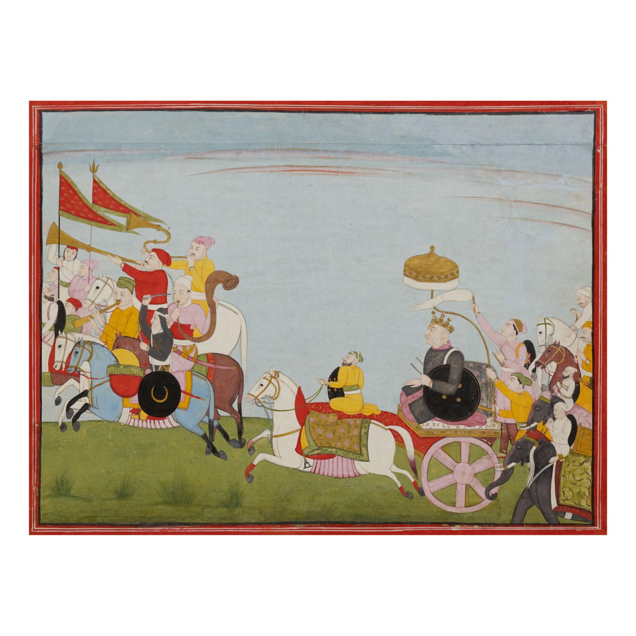 View full screen - View 1 of Lot 379.  AN ILLUSTRATION TO A BHAGAVATA PURANA SERIES: JARASANDHA'S BATTLE MARCH TO MATHURA,  INDIA, GULER, CIRCA 1760.