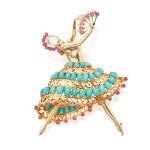 John Rubel Co. | Turquoise, Ruby and Diamond 'Ballerina' Brooch