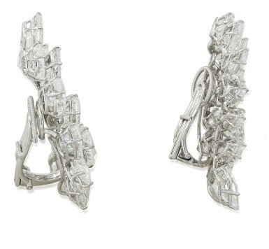 View 2. Thumbnail of Lot 56. HARRY WINSTON | PAIR OF DIAMOND EARCLIPS.