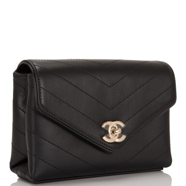 View 2. Thumbnail of Lot 95. CHANEL    COCO CHEVRON DOUBLE WRAP WAIST BAG OF BLACK CALFSKIN WITH LIGHT TONE GOLD HARDWARE.
