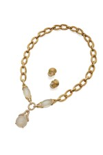 GOLD, MOONSTONE AND DIAMOND NECKLACE AND PAIR OF EARCLIPS, HENRY DUNAY