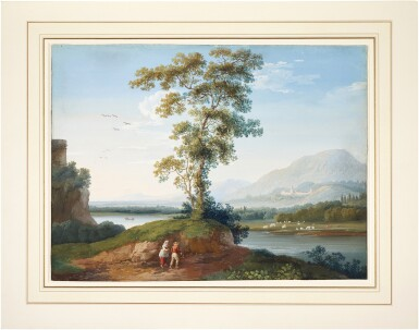 View 2. Thumbnail of Lot 72. Mountainous river landscape with figures ambling in the foreground.
