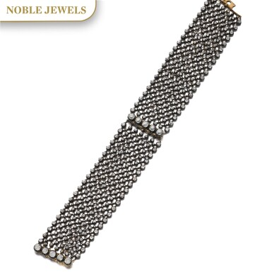 View 1. Thumbnail of Lot 152. PAIR OF DIAMOND BRACELETS/CHOKER, LATE 19TH CENTURY AND LATER.