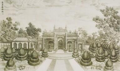 View 35. Thumbnail of Lot 362. A SET OF TWENTY PRINTS OF PALACES, PAVILIONS AND GARDENS AT YUANMING YUAN | 巴黎、1977年 《郎世寧圓明園西洋樓》 一組二十幅 水墨紙本.