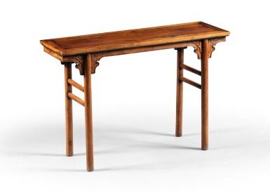 View 1. Thumbnail of Lot 201. Table en palissandre formant console double face, pingtouan Dynastie Qing, XIXE siècle   清十九世紀 花梨木平頭案   A small huali recessed-leg table, pingtouan, Qing Dynasty, 19th century.