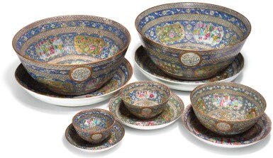 A SET OF FIVE PORCELAIN BOWLS AND DISHES WITH 'FAMILLE ROSE' DECORATION FROM A SERVICE MADE FOR MA'SUD MIRZA ZILL AL-SULTAN, CHINA AND PERSIA, DATED 1297 AH/1879-80 AD AND 1301 AH/1883-4 AD