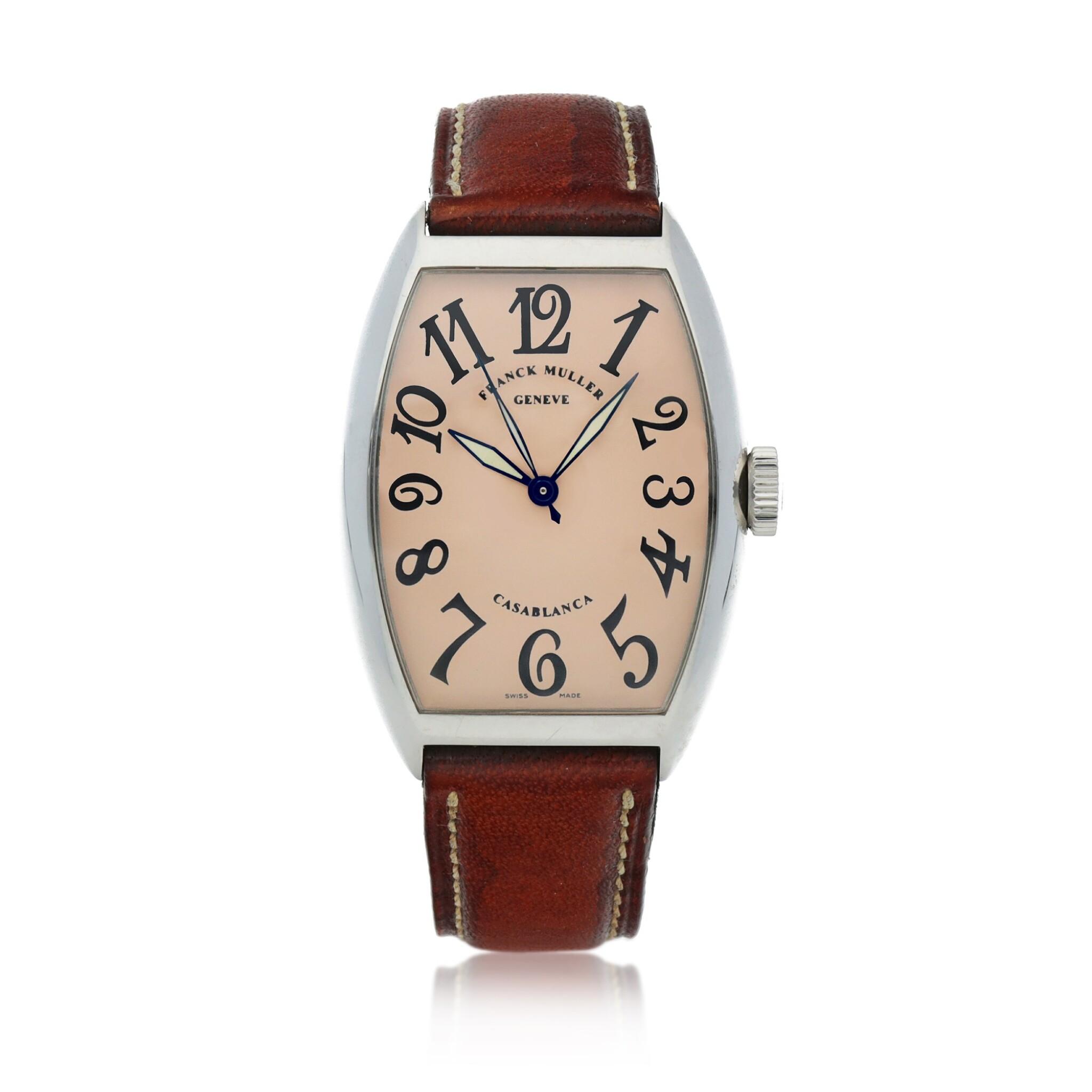 View full screen - View 1 of Lot 545. Casablanca, Ref. 5850 Stainless steel wristwatch Circa 2002   Franck Muller 5850型號「Casablanca」精鋼腕錶,年份約2002.