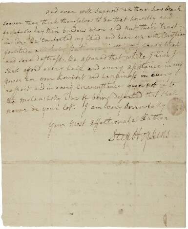 Hopkins, Stephen. Autograph letter signed, Philadelphia, 15 Nov 1775, to his daughter-in-law Ruth G. Hopkins