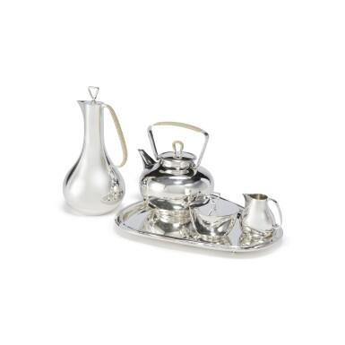 A THREE-PIECE DANISH SILVER COFFEE SET ON TRAY, NO. 1015, DESIGNED BY SIGVARD BERNADOTTE, GEORG JENSEN SILVERSMITHY, COPENHAGEN, CIRCA 1945-77