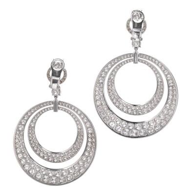 View 3. Thumbnail of Lot 631. Graff | Pair of diamond pendent earrings | 格拉夫 | 鑽石耳墜一對.