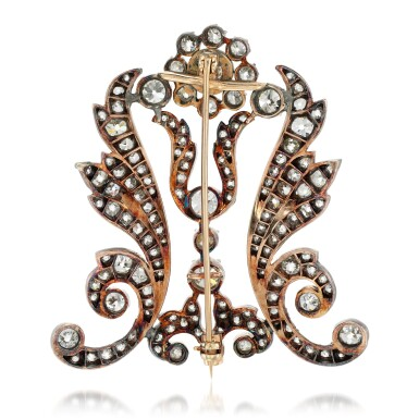 View 3. Thumbnail of Lot 201. Diamond brooch, 1880s and later.