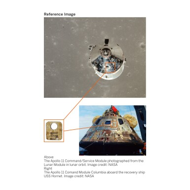 """View 2. Thumbnail of Lot 106. [APOLLO 11]. FLOWN COMMAND MODULE """"COLUMBIA"""" BOOST COVER RELEASE LABEL."""