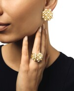 CHANEL | PAIR OF GOLD, CULTURED PEARL AND DIAMOND 'MATELASSÉ' EARCLIPS AND RING