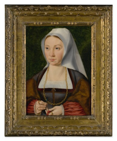 View 2. Thumbnail of Lot 509. ATTRIBUTED TO JOOS VAN CLEVE | PORTRAIT OF A LADY HOLDING A ROSARY AND A FLOWER.