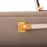 Hermès Horseshoe Stamp (HSS) Bicolor Gris Asphalte and Craie Sellier Kelly 25cm of Epsom Leather with Brushed Gold Hardware