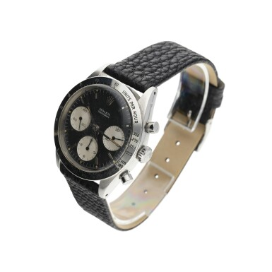View 4. Thumbnail of Lot 4. ROLEX | REFERENCE 6239 'DOUBLE SWISS UNDERLINE' DAYTONA  A RARE STAINLESS STEEL CHRONOGRAPH WRISTWATCH WITH REGISTERS, CIRCA 1963.