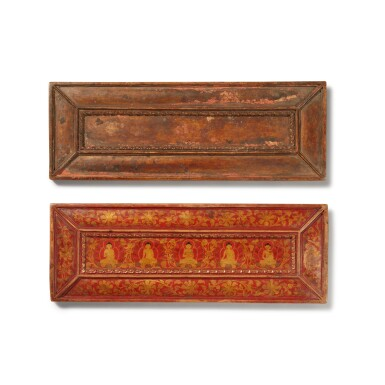 View 1. Thumbnail of Lot 325. A Pair of Polychrome Wood Manuscript Covers, Tibet, circa 15th Century.