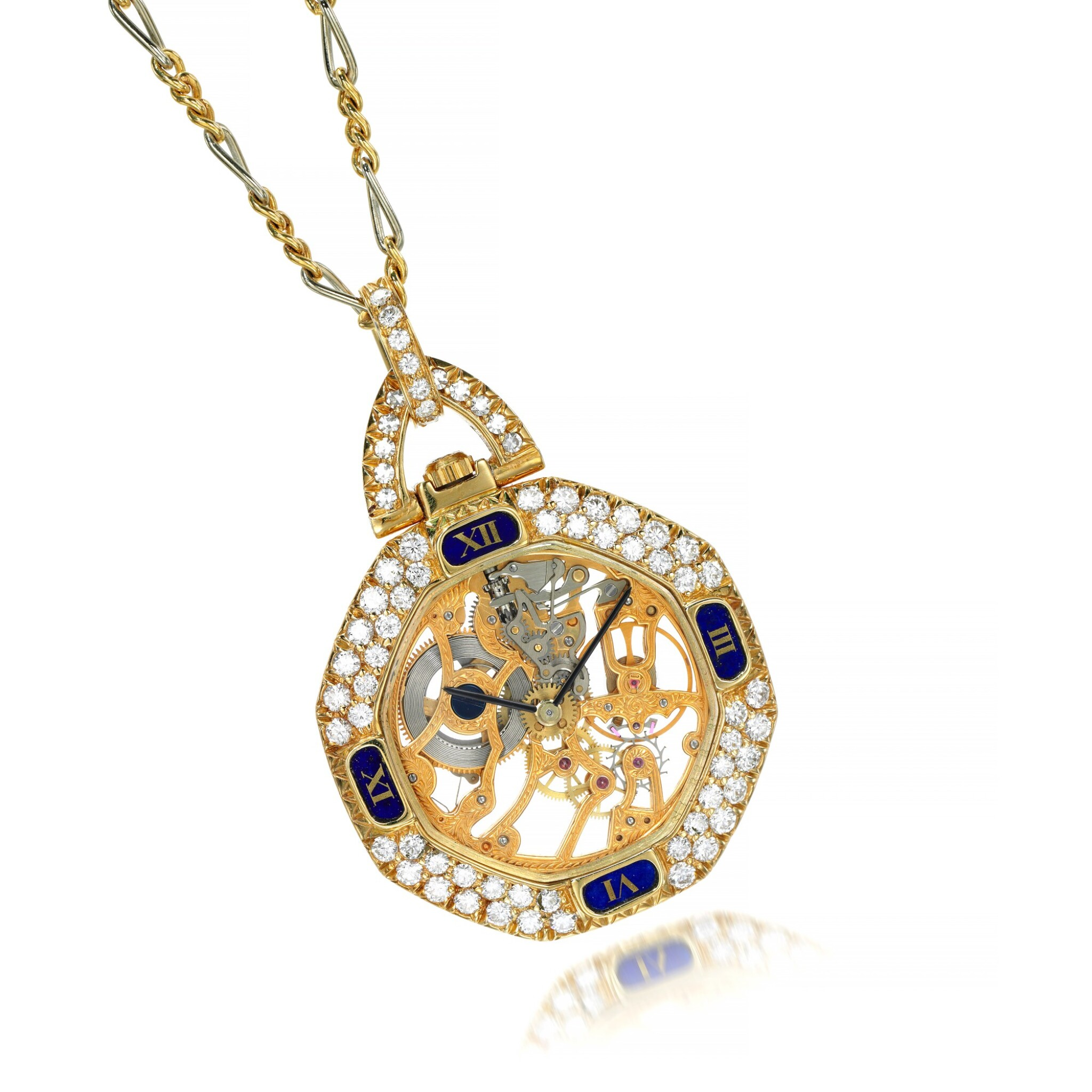 View full screen - View 1 of Lot 74. Diamond pendant watch.