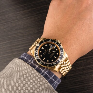 View 4. Thumbnail of Lot 8. ROLEX | GMT-Master, Ref. 16758, A Yellow Gold Wristwatch with Bracelet Circa 1981.