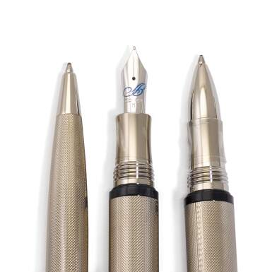 View 2. Thumbnail of Lot 141. A set of 3 sterling silver and sapphire-set pens, made by Montegrappa for Breguet..