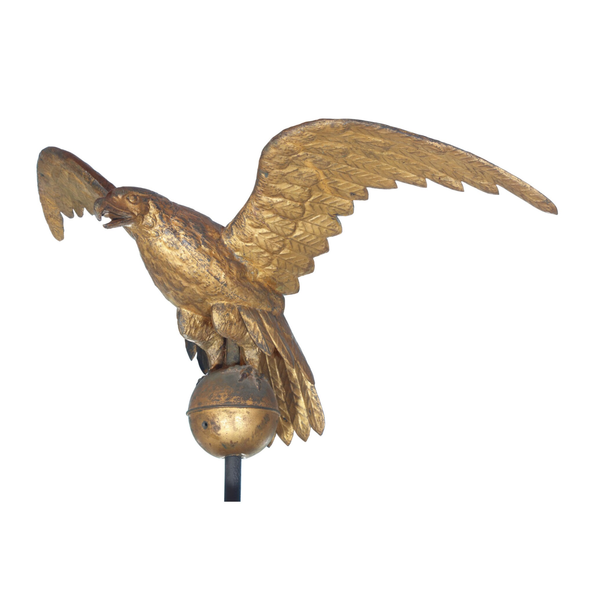 View full screen - View 1 of Lot 18. FINE AND RARE LARGE GILT MOLDED FULL-BODIED SHEET COPPER EAGLE WEATHERVANE, NEW ENGLAND, 19TH CENTURY.