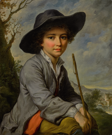 ATTRIBUTED TO CATHERINE LUSURIER | A YOUNG BOY SEATED IN A LANDSCAPE, THREE-QUARTER LENGTH