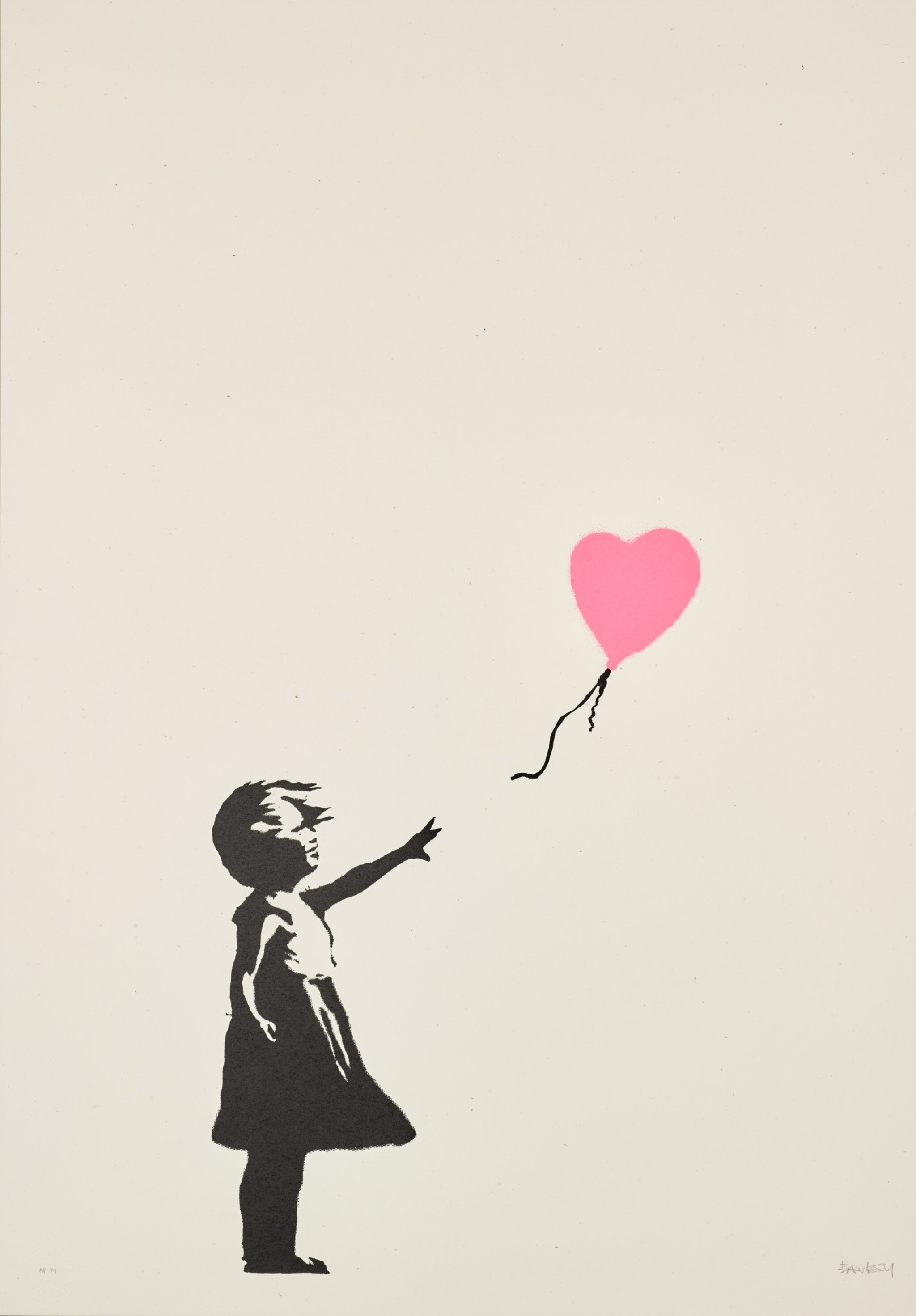 View 1 of Lot 13. BANKSY | GIRL WITH BALLOON - COLOUR AP (DARK PINK).