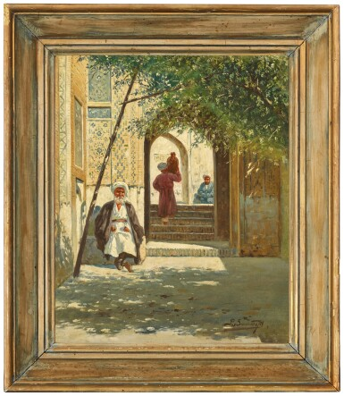 View 3. Thumbnail of Lot 22. RICHARD KARLOVICH ZOMMER | A SHADED ARCHWAY AND MOSQUE IN TURKESTAN (A PAIR).