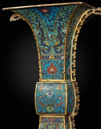 View 5. Thumbnail of Lot 178. A large gilt-bronze and cloisonné enamel ceremonial vase, fanggu 17th century | 十七世紀 掐絲琺瑯獸面紋出戟方觚.
