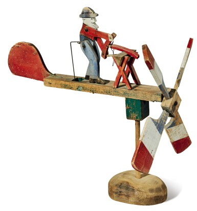 View 1. Thumbnail of Lot 1463. POLYCHROME-PAINTED PINE WOODWORKER WHIRLIGIG, EARLY 20TH CENTURY.