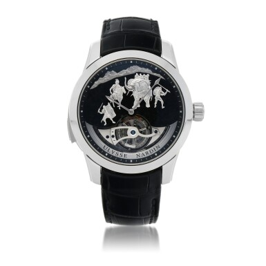 View 1. Thumbnail of Lot 426. HANNIBAL, REF 789-00 LIMITED EDITION PLATINUM WESTMINSTER MINUTE REPEATING TOURBILLON WRISTWATCH WITH JAQUEMARTS, GRANITE DIAL AND MATCHING CUFFLINKS CIRCA 2015.